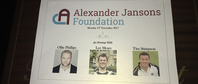 Rugby themed fundraiser for the Alexander Jansons Foundation